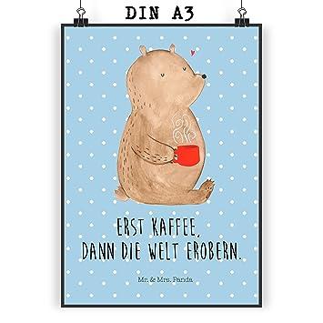 Mr Mrs Panda Poster Din A3 Bär Kaffee Kaffee Coffee Bär Bären Guten Morgen Morgenroutine Welt Erobern Welt Retten Motivation Poster