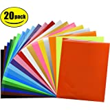 """Fame Crafts Heat Transfer Vinyl Bundle 12""""x10""""- 20 Pack of Assorted Color DIY T-Shirt Vinyl Transfer Sheets -Best Iron On HTV Vinyl for Silhouette Cameo, Cricut - or Use with Heat Press Machine Tool"""