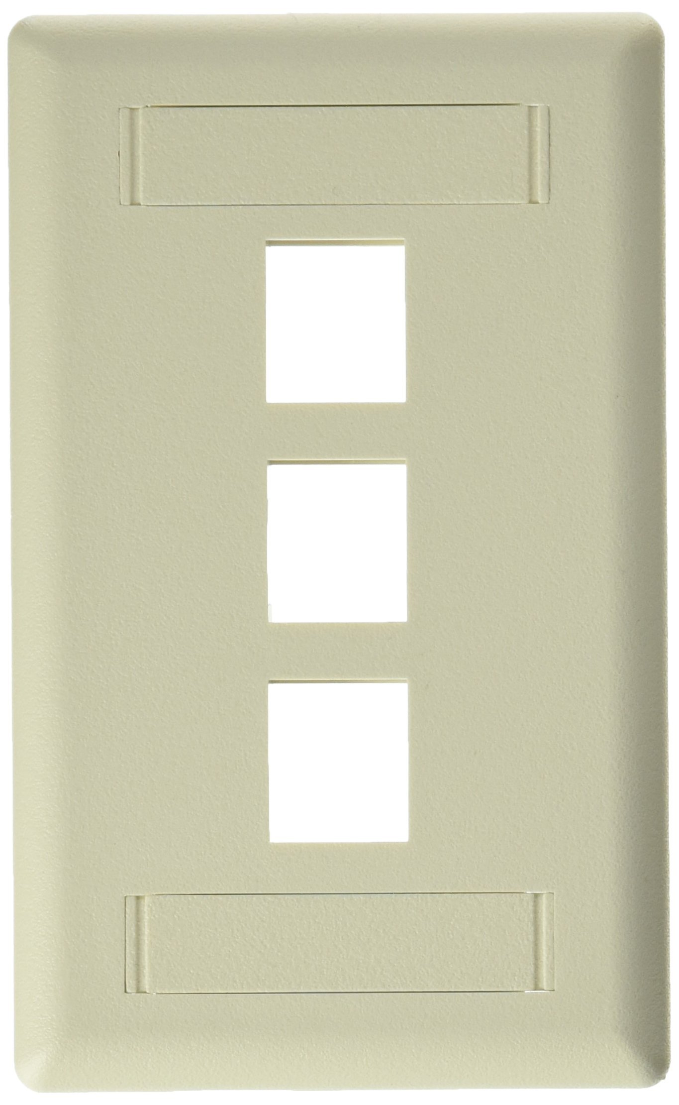 Hubbell IFP13OW Flush Phone/Data/Multimedia Wall Plate, 1 Gang, 3 Port, Office White (Pack of 25)