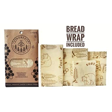 Organic Beeswax Food Wraps by KOBEE - Reusable, Biodegradable, Plastic-Free, Non-Toxic Bees Wax Food Wrappers - Extra Large 4 Pack - Bread Wrap, Large, Medium, Small, Zero-Waste Food Storage