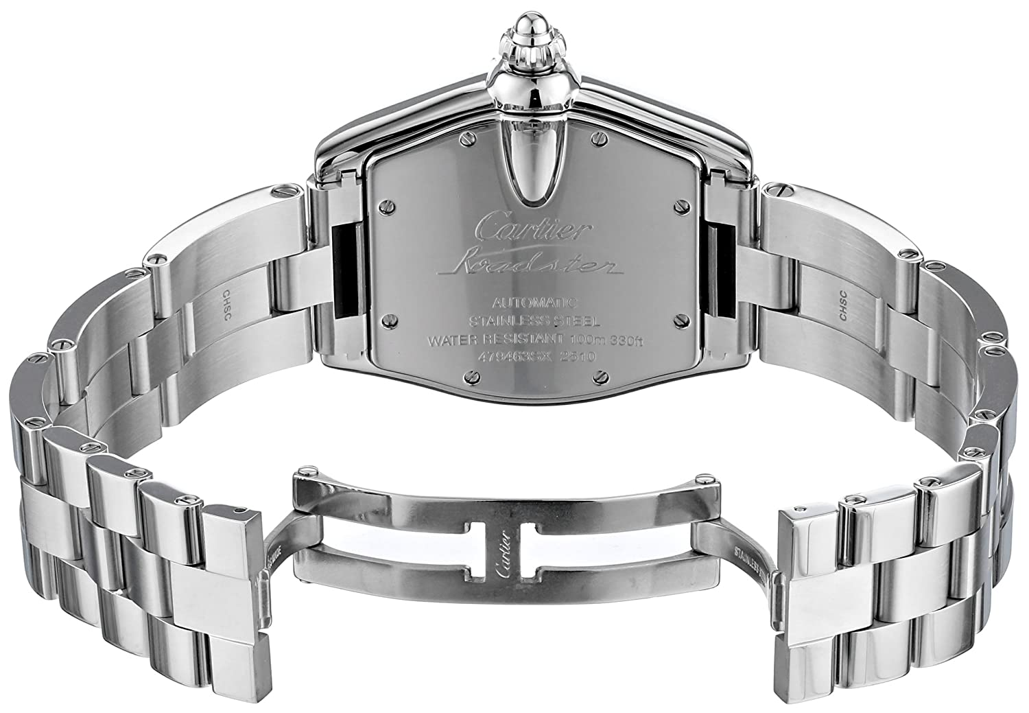 21e5b24f86a Amazon.com  Cartier Men s W62025V3 Roadster Stainless Steel Automatic  Watch  Cartier  Watches