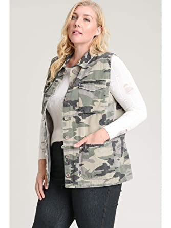 411e5fe0afe Jodifl Camo Vest-Plus Size at Amazon Women s Clothing store
