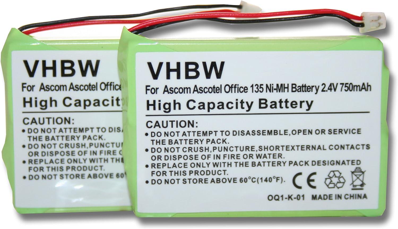 2 x vhbw Set batería 750mAh para teléfono Fijo inalámbrico Ascom ...