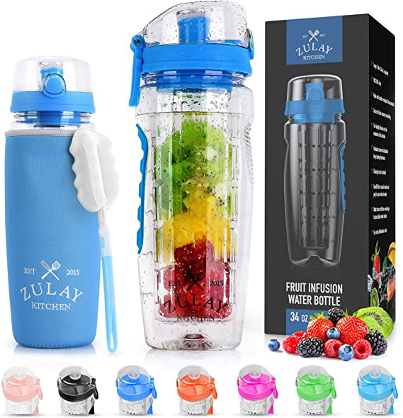 Zulay (34oz Capacity) Fruit Infuser Water Bottle With Sleeve