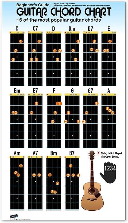 Stickerbrand Cartel de tabla de acordes de guitarra para principiantes para estudiantes y profesores guía práctica educativa 16 pulgadas de alto X 9 pulgadas ancho Blanco: Amazon.es: Hogar