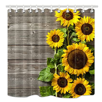 HNMQ Sunflower Shower Curtain 3D Printing Spring Field Flowers On Country Wooden Board Upgrodes