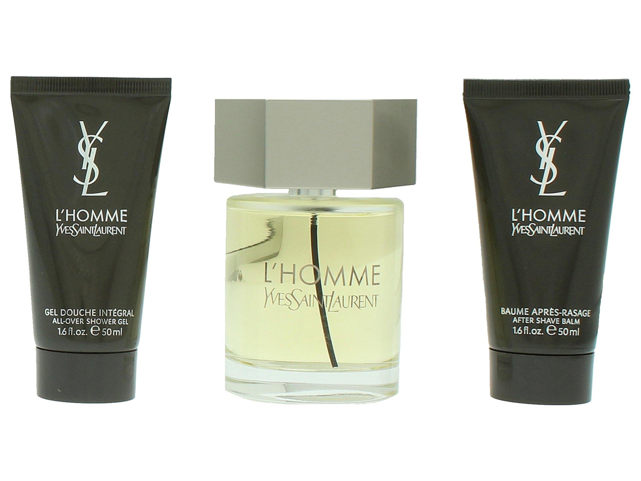 L'homme Yves Saint Laurent for Men 3 Piece Set Includes: 3.3 oz Eau de Toilette Spray + 1.6 oz All Over Shower Gel + 1.6 oz After Shave Balm