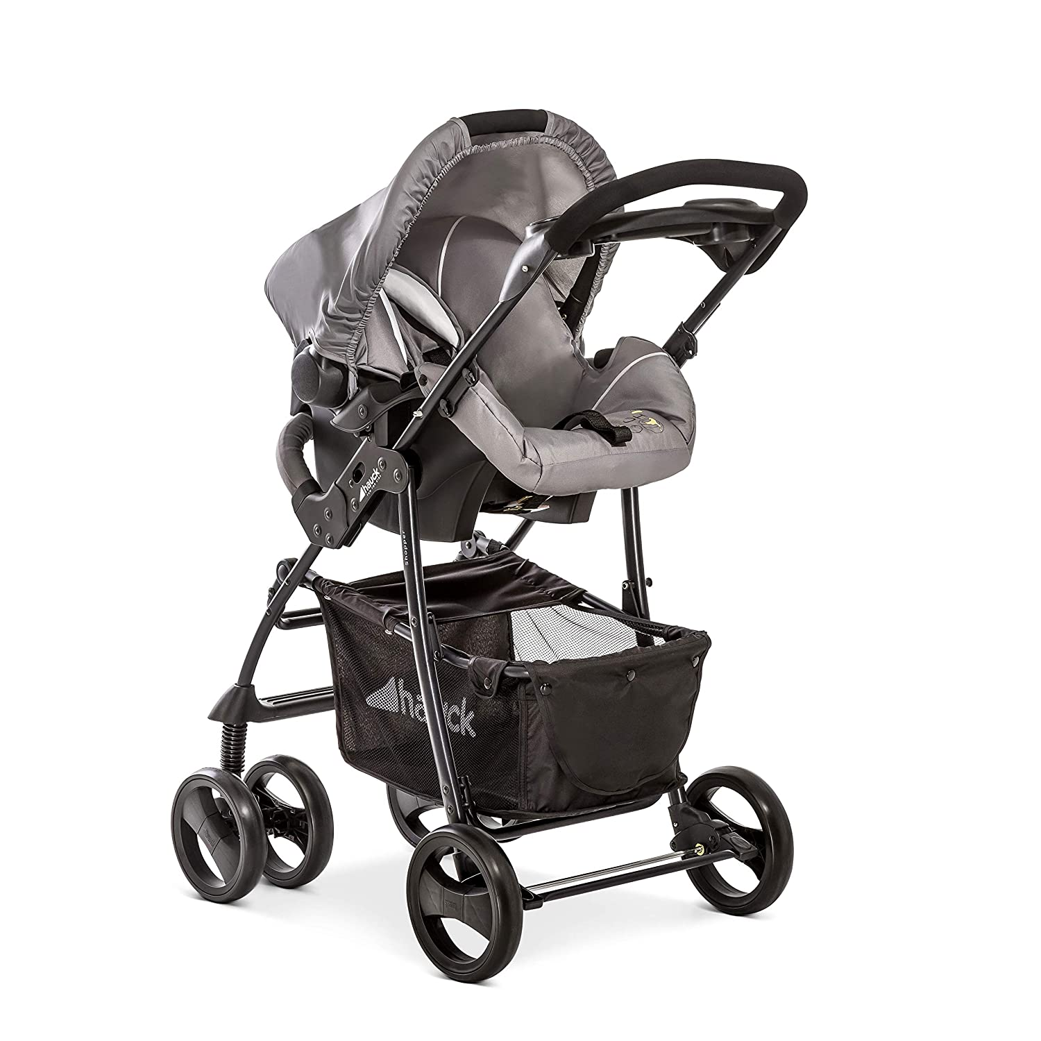 Carrycot and Pushchair Lightweight Folding Buggy up to 25 kg with Lying Position Raincover 3 in 1 Travel System with Infant Car Seat Cup Holder Pooh Cuddles Hauck Shopper SLX Trio Set