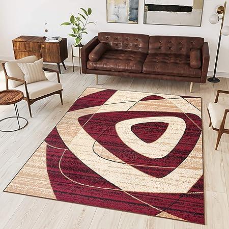 Tapiso Collection Dream Tapis de Salon Moderne Couleur Beige Crème Rouge  Motif Géométrique Facile d\'entretien 300 x 400 cm
