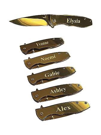Amazon.com: Cuchillo plegable de plata con grabado de ...