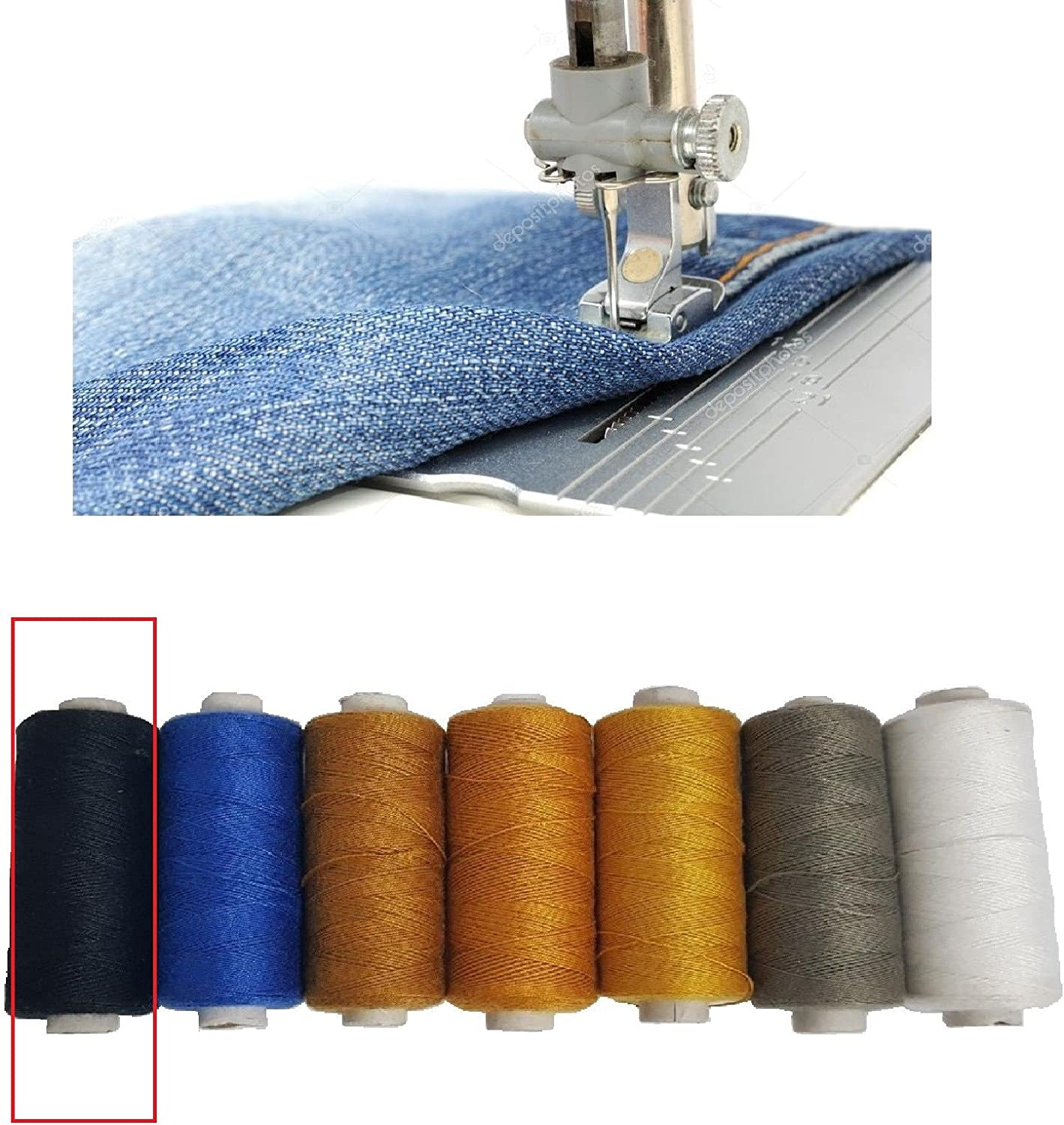 Black Denim Threads Polyester Cotton Spools Sewing Strong Stitch Button Jeans Repair