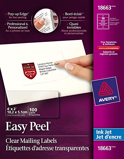 Amazon.com : AVE18663 - Avery Easy Peel Mailing Labels For Inkjet ...