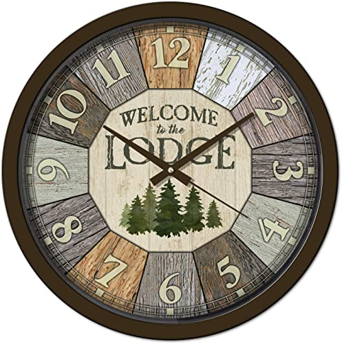Reflective Art Welcome to The Lodge Classic Clock, 15