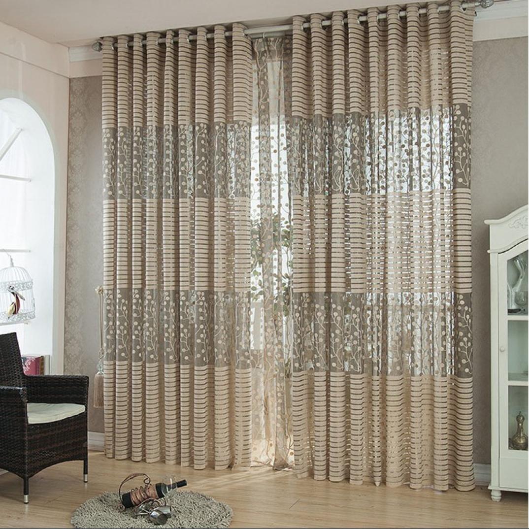 Tree leaf Tulle Door Window Curtain Drape Panel Sheer Scarf ,KESEE