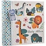 Álbum de fotos azul para bebé de 10,16x 15,24 cm para 200fotos–diseño de animales del bosque–regalo ideal.