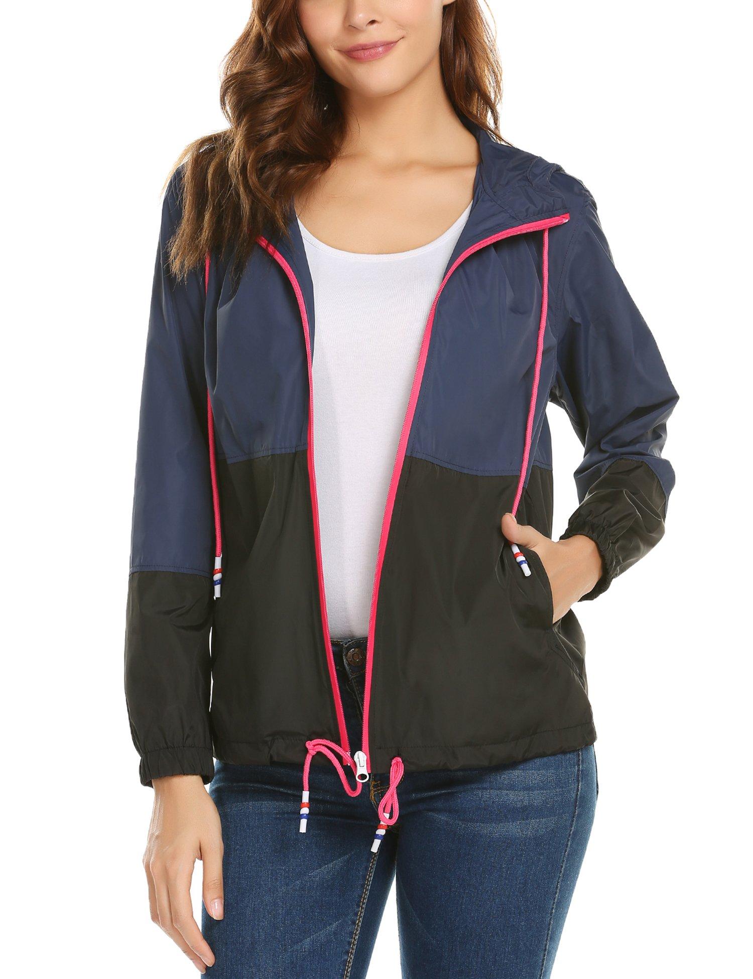 ZHENWEI Waterproof Lightweight Rain Jacket Active Outdoor Hooded Women's Rain Coat Navy Blue XXL