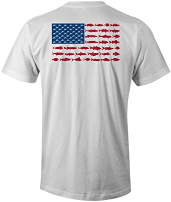 55c03b1e6bb Amazon.com  Chasing Fin American Fish Flag Fishing T-Shirt  Clothing