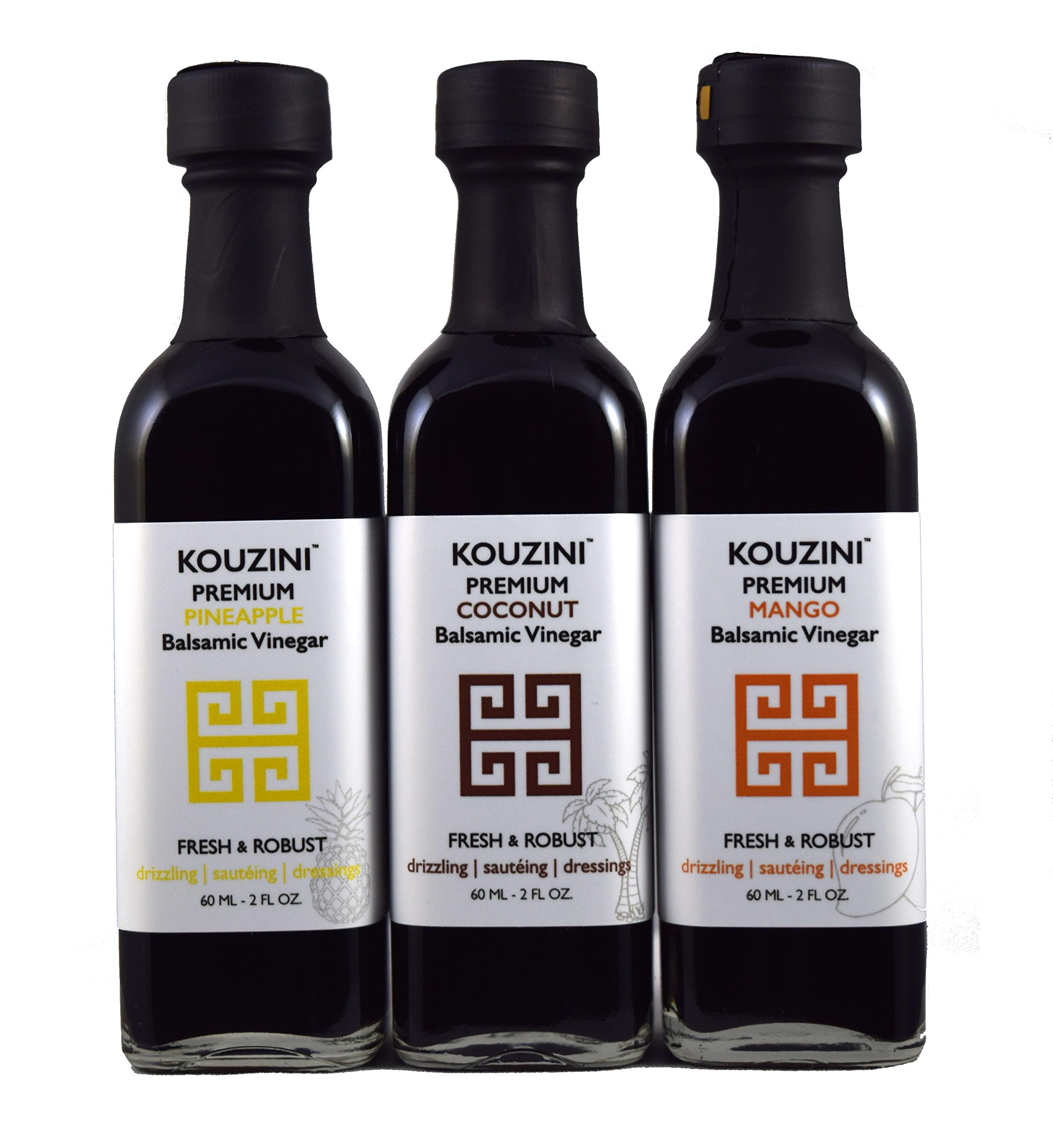 Kouzini Tropical vinegar set. 3-Pack 60ml mini bottles. Summer Edition 1 Naturally thick, sweet and delicious Perfect size for traveling NO Preservatives, NO artificial colorings, NO added sugars