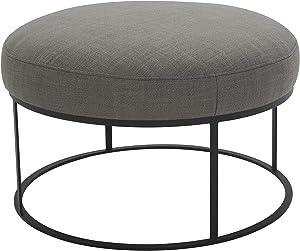"""Amazon Brand – Rivet Revere Round Upholstered Iron-Framed Ottoman, 30.3""""W, Grey"""