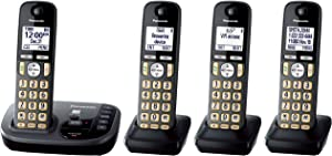 PANASONIC Cordless Phone with Answering Machine KX-TGD224M - 4 Handsets (Black)