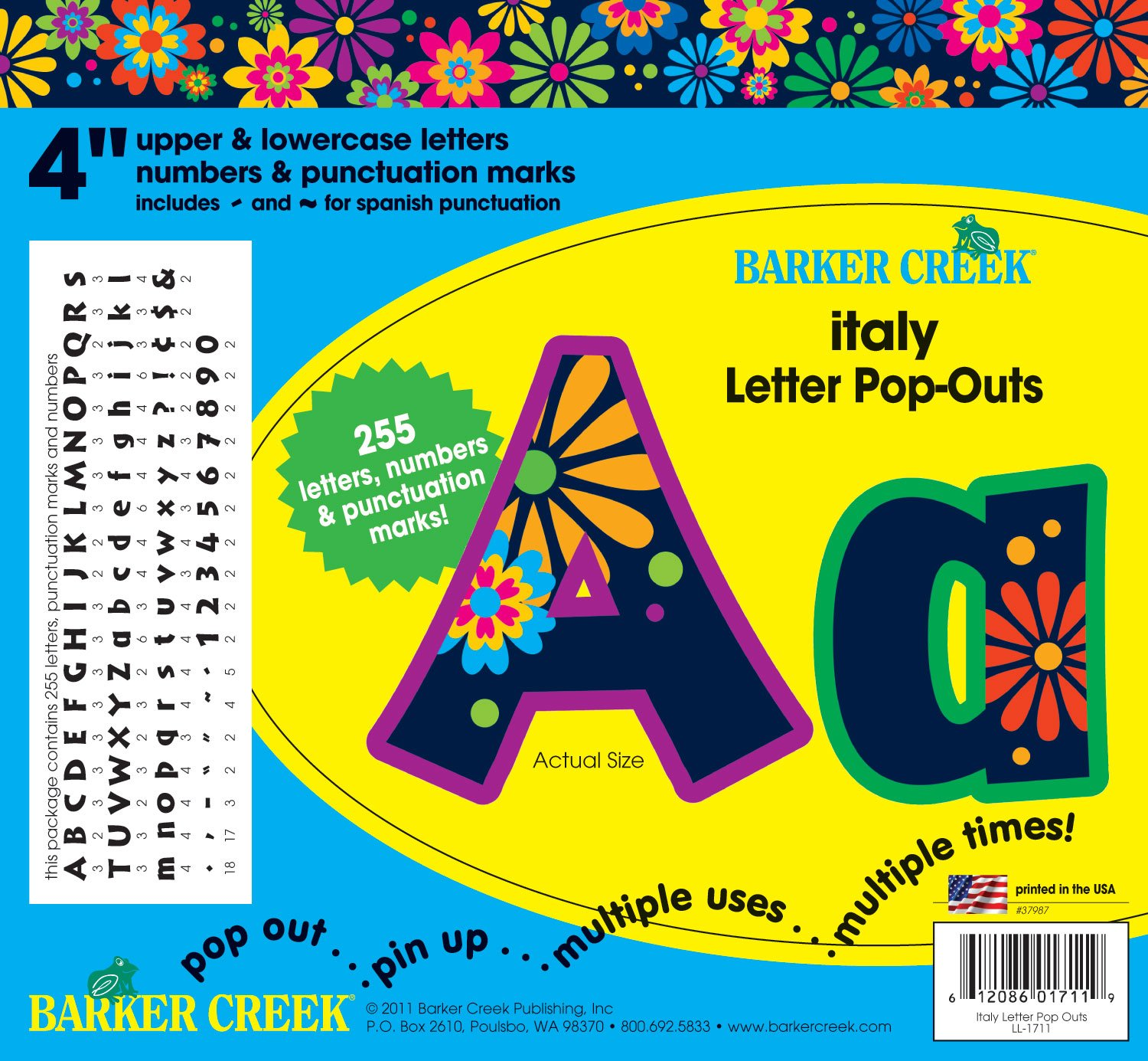 Barker Creek 4'' Letter Pop-Outs Decorations, Italy, 255-Characters (LL-1711) by BARKER CREEK