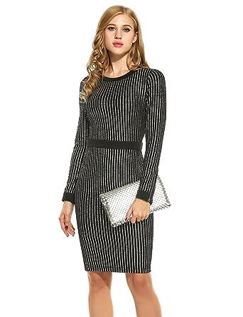Amazon.com: ANGVNS Womens lentejuelas vestido de manga larga ...
