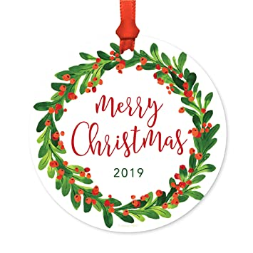 Merry Christmas 2019.Andaz Press Round Metal Christmas Ornament Merry Christmas 2019 Red Green Holiday Wreath