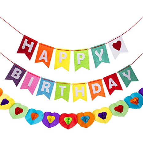 Amazon.com: Pancarta de feliz cumpleaños Rainbow Paño de ...
