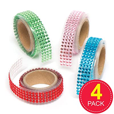 Baker Ross Coloured Gem Sticky Tape, Decorative Tape for Card Craft, Scrapbooking and Arts and Crafts for Kids (Pack of 4): Toys & Games
