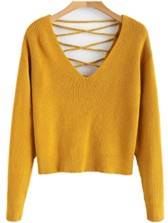 d8a0c8fb4e ZAFUL Women Sexy Sweater V Back lace up Crop Sweaters Long Sleeve Knit  Pullovers Drop Shoulder