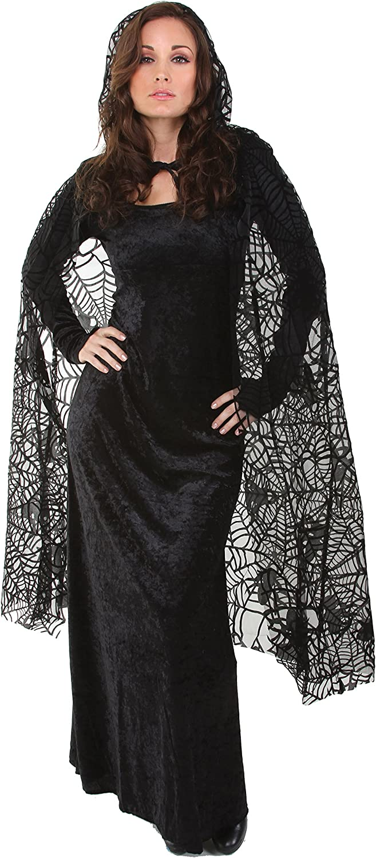 Underwraps Women's 55 Inch Sheer Spiderweb Cape, Black, One Size: Clothing