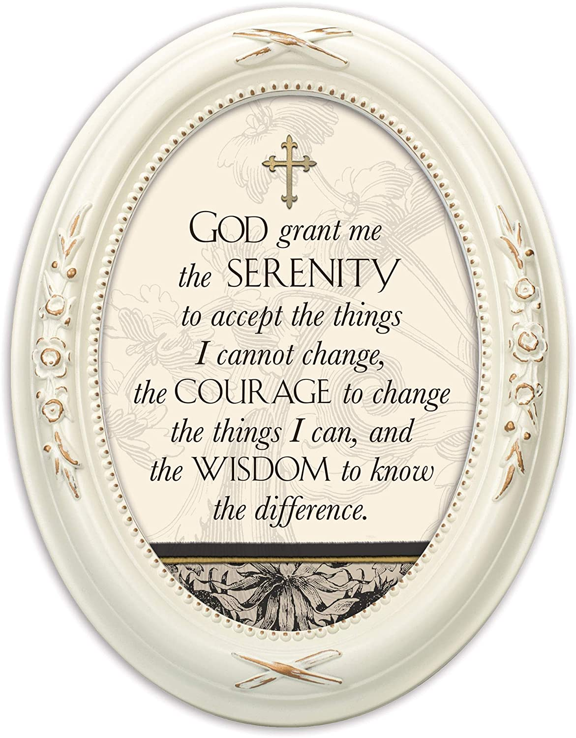 Cottage Garden God Grant Me The Serenity Distressed Ivory Floral 5 x 7 Oval Table and Wall Photo Frame