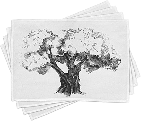 Ambesonne Tree Print Placemat Set of 4 Fabric Place Mats for Table Decor
