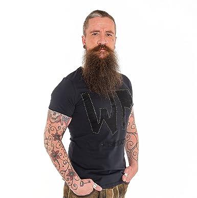 9aeb23ae7bd043 Wiesnrocker I WR2113 I Herren-T-Shirt in schwarz I schwarzer Druck mit  Metallic-Nieten I Rund-Hals I 100% Baumwolle I Gr. S - XXXL: Amazon.de:  Bekleidung