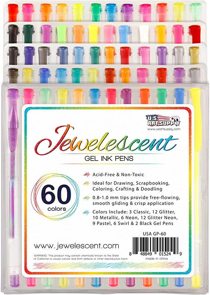 US Art SupplyR JewelescentR 60 Color Gel Pen Set - Professional Artist Quality S Gel Ink Pens in Vibrant Colors - Classic, Glitter, Metallic, Neon, Pastel & Swirl Colors - 100% Satisfaction