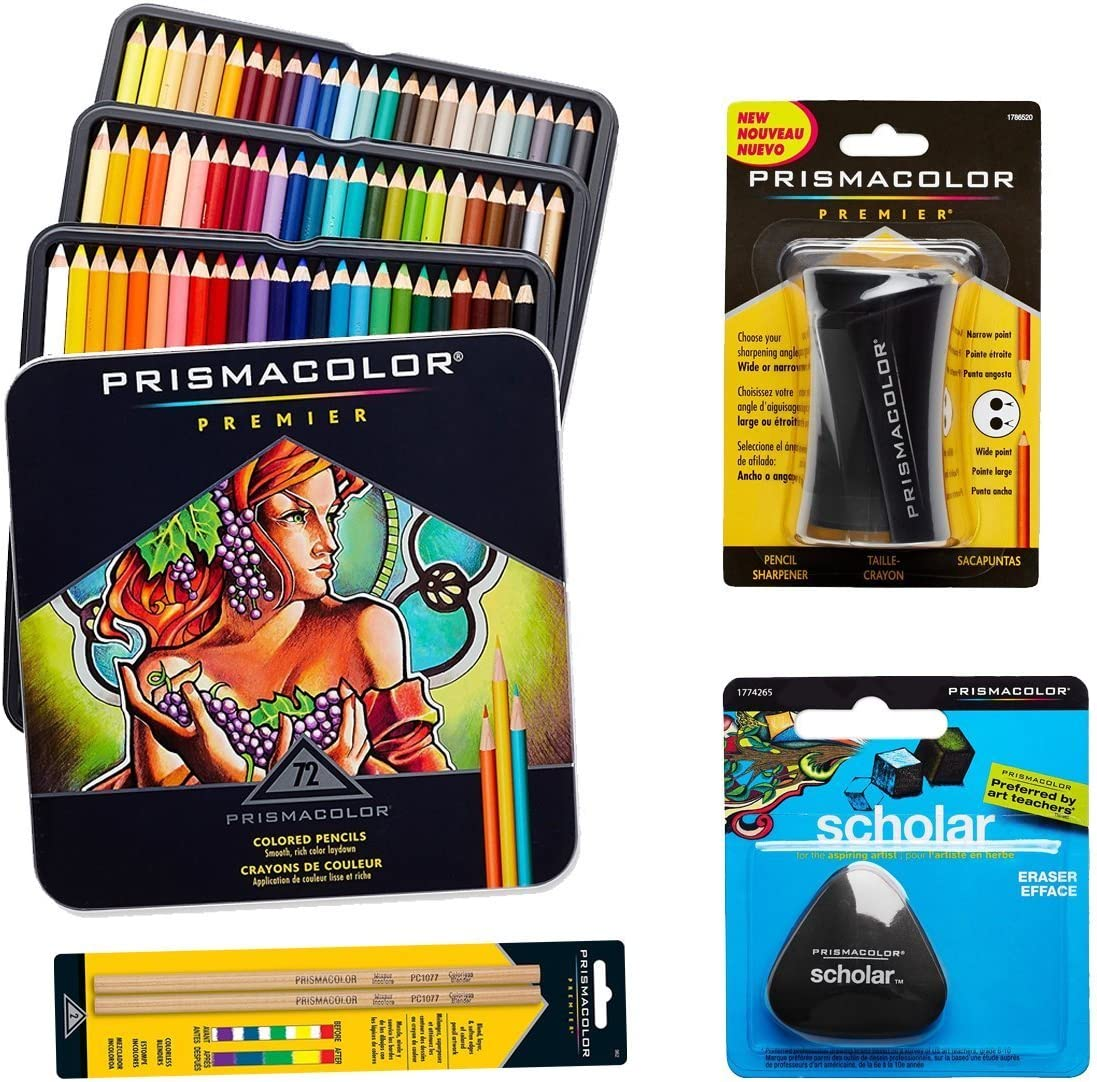 Prismacolor 72-Count Colored Pencils, Triangular Scholar Pencil Eraser, Premier Pencil Sharpener, and Colorless Blender Pencils