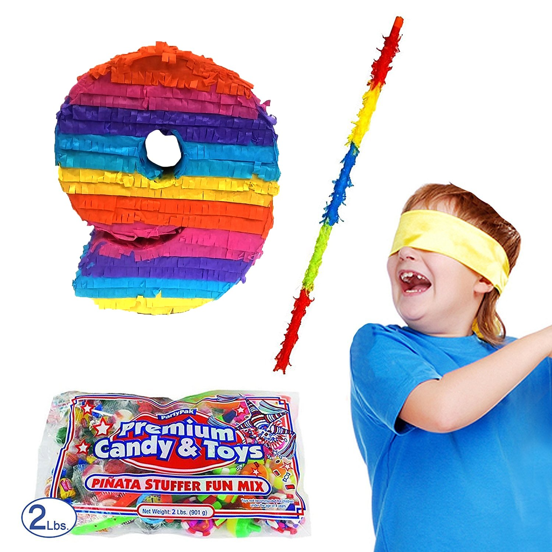 Number 9 Pinata Kit Including Pinata, 2 lb Candy Filler, Buster Stick and Bandana for Kids Ninth Birthday
