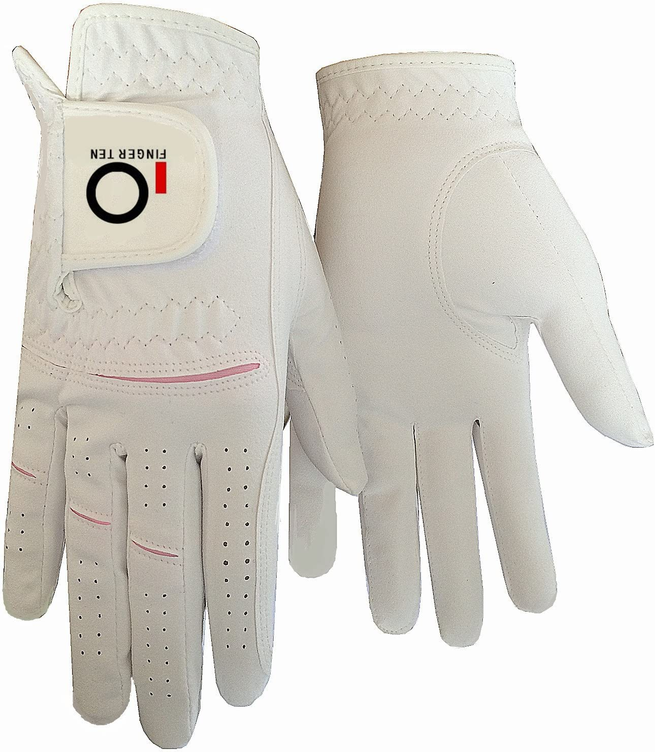 FINGER TEN Womens Ladies Golf Rain Gloves Pair Both Hand, or 2 Pack Left Right Hand, Wet Hot Cool Grip, Fit XS Small Medium Large XL