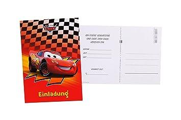7 Einladungskarten Postkarten Kindergeburtstag Disney Cars Mit Text 41 3033