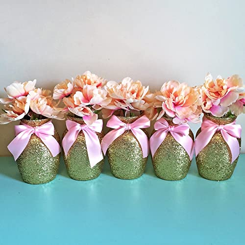 Amazon 10 Gold Glitter Glass Jardin Vases With Soft Pink Bows