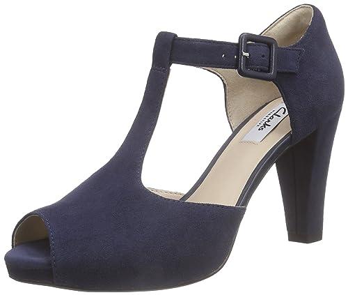 62d5f505 Clarks Kendra Flower - Tacones con Tira en T, Mujer, Azul (Navy Suede),  41.5: Amazon.es: Zapatos y complementos