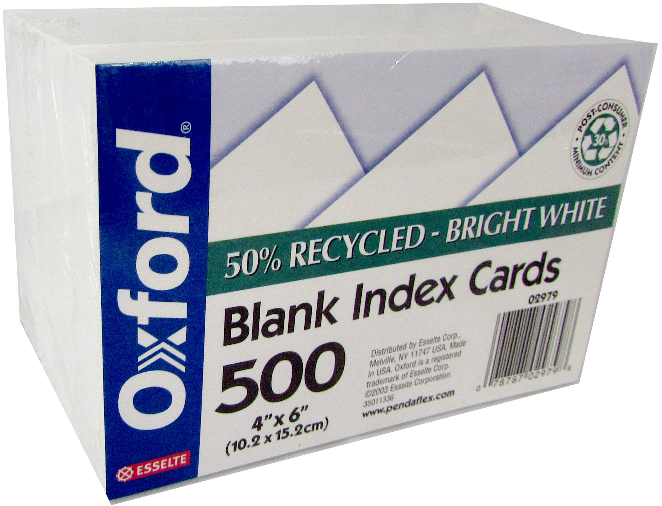 OXFORD Index cards, 4''x 6'', 500 pk, White, Unruled (each 100 wrapped individually), Case Pack of 12, Ideal for Bulk Buyers