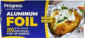 Pop-Up Aluminum Foil Wrap Sheets 12 x 10 3/4 Silver 200 per Box- Nonstick, Heavy-Duty Aluminum foil Sheets for Restaurants, Delis, Food Truck and Carts
