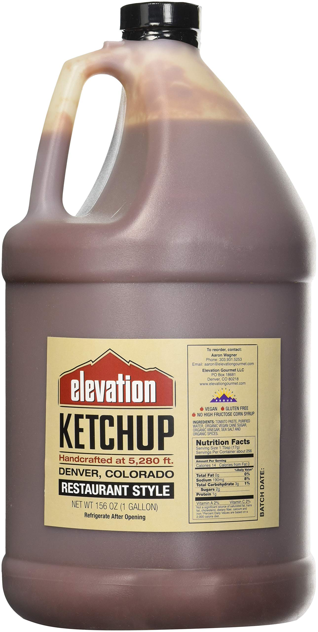 Elevation Ketchup Restaurant Style 156 Oz.(1 Gallon)