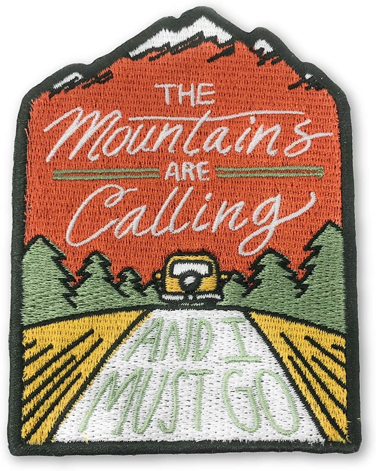 O'Houlihans - The Mountains are Calling and I Must Go Iron on Patch - Perfect Morale Patch for Hiking, Adventures, Nature, Travel, and More - Premium Quality Embroidered Patch