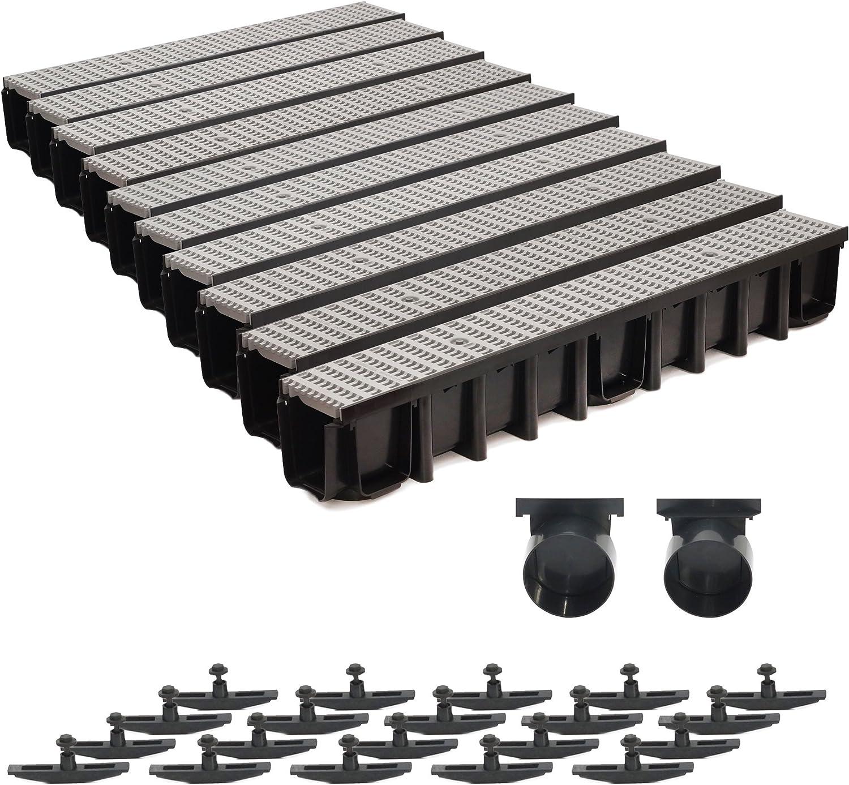 grau 10m Entw/ässerungsrinne 148mm Einlaufkasten Stegrost Kunststoff inkl Zubeh/ör