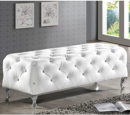 Remarkable Amazon Com Furniture Ottoman Bench Faux Leather Crystal Inzonedesignstudio Interior Chair Design Inzonedesignstudiocom