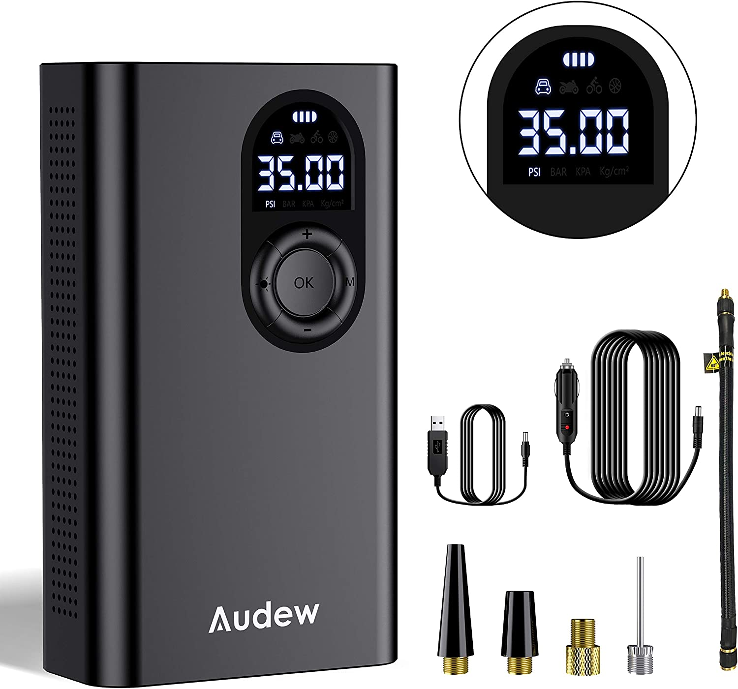 Audew Rechargeable Cordless Tire Inflator - Portable Air Pump with Digital Pressure Gauge 2000mAh Battery 150PSI LED Light 12V AC DC, Auto Shut Off for Cars, Motorcycles, Balls,and Other inflator