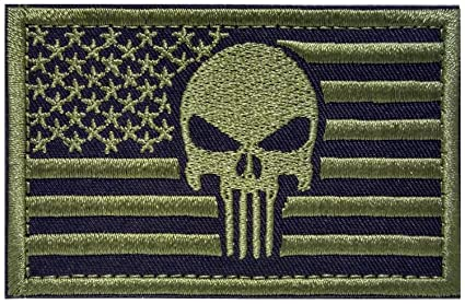 Backwoods Barnaby Punisher USA American Flag Tactical Morale Patch with  Hook   Loop (AP Olive e483435e950
