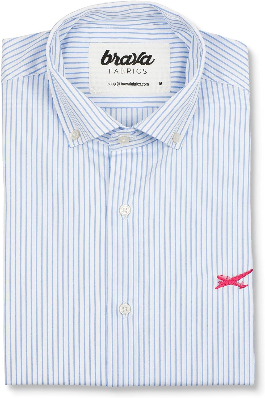 Brava Fabrics | Camisa Hombre Manga Larga Estampada | Camisa Azul para Hombre | Camisa Casual Regular Fit | 100% Algodón | Modelo Essential Stripes | Talla 3XL: Amazon.es: Ropa y accesorios